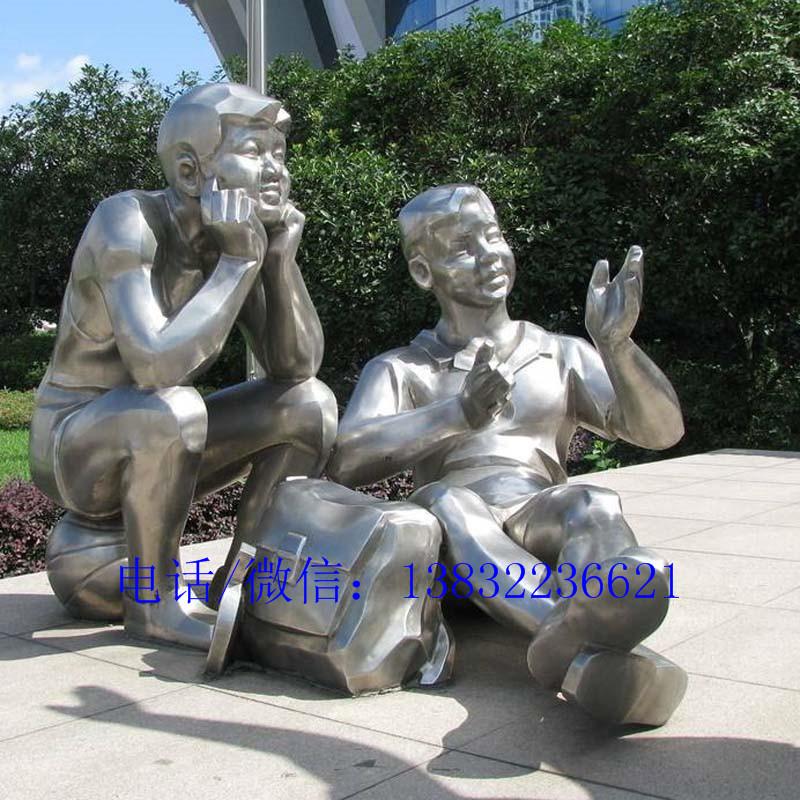 镜面不锈钢学生人物雕塑厂家加工
